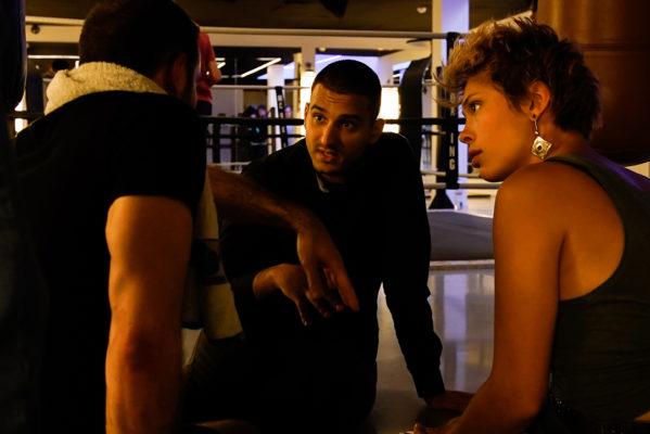 De gauche à droite : Anthony Molina-Diaz (Le Buffle du Hainaut), Georges Vanev (réalisateur) et Emilie Franco (Erika Goossens)