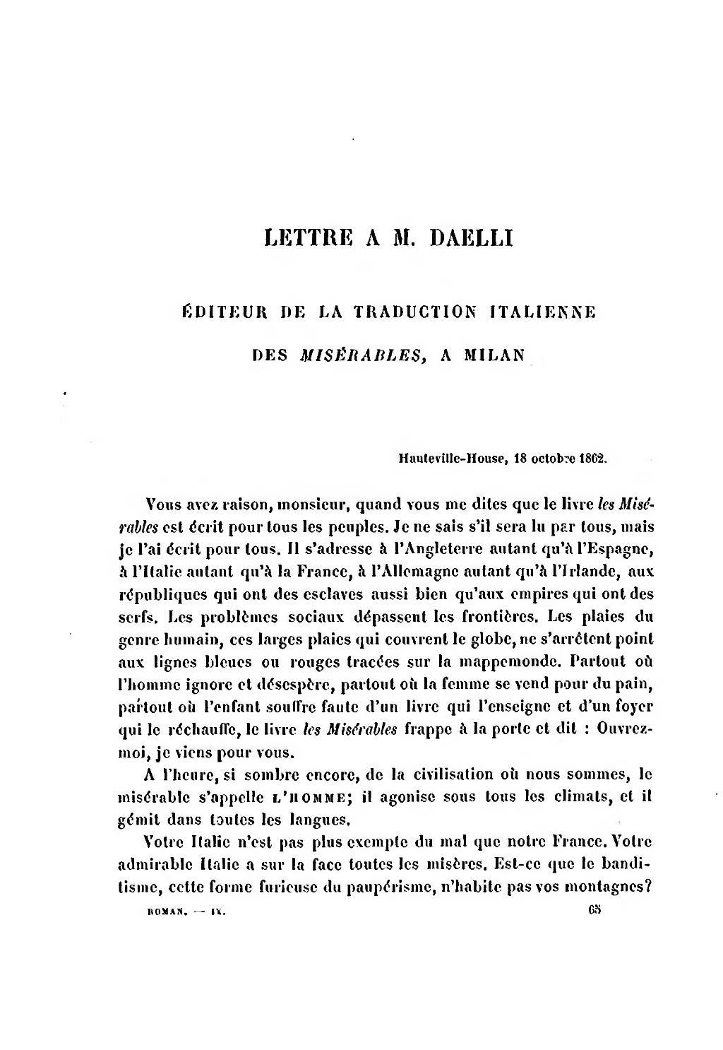 Lettre à M. Daelli, éditeur de la traduction italienne des Misérables, à Milan